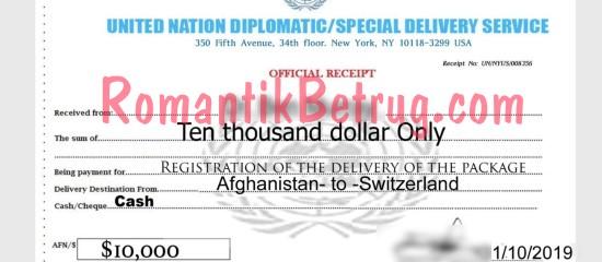 Gefälschtes Dokument für ein angebliches Paket eines Betrügers.