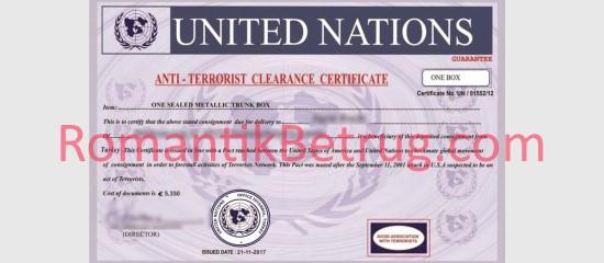 Gefälschtes Anti-Terror Dokument von Betrügern.