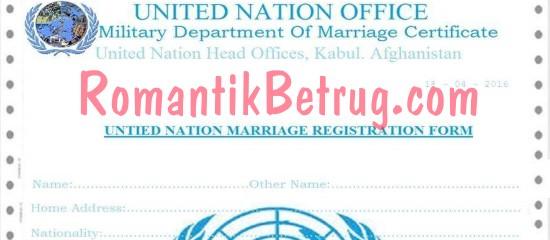 Gefälschte Heiratsurkunde der Vereinten Nationen.